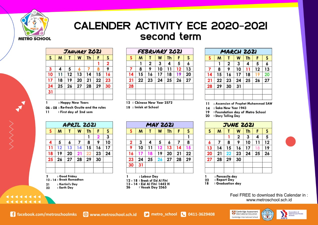 ECE Calendar of Activities 2020-2021