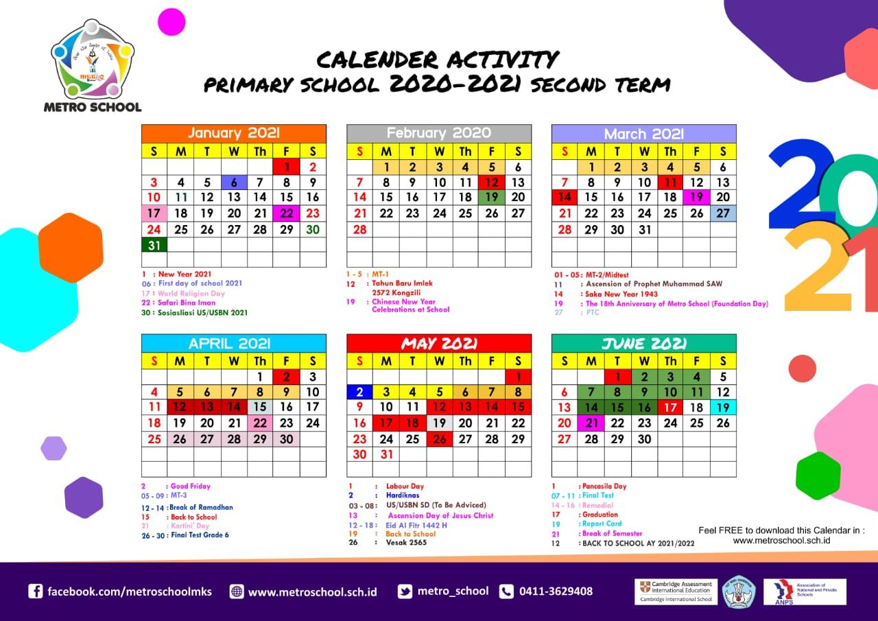 Primary Calendar of Activities 2020-2021