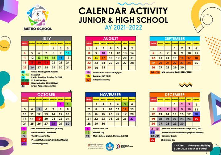 Calendar Activity Junior High 2021-2022