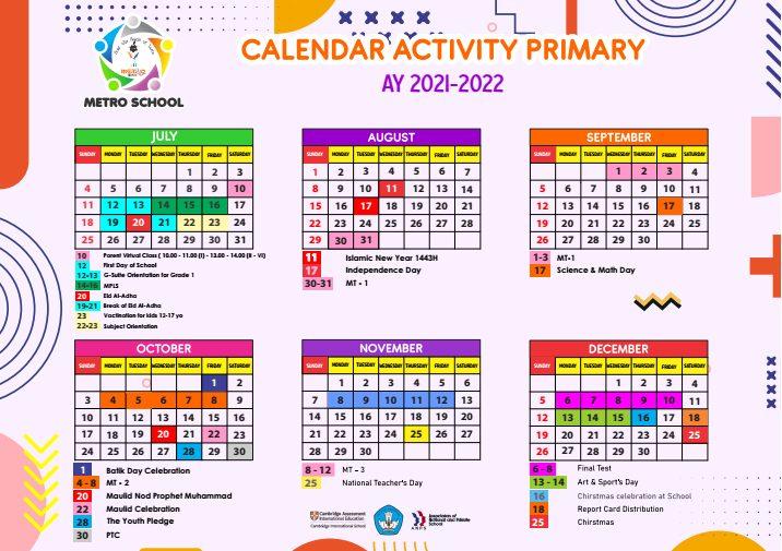 Calendar Activity Primary 2021-2022
